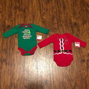 Holiday Time Baby Boys Christmas Bodysuits NEW!